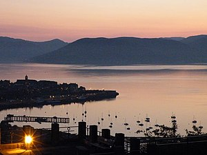 Gourock Point e Cardwell Bay ao por-do-sol