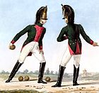 Two troopers of the 8th Dragoons in green coats with crimson facings and white breeches and boots
