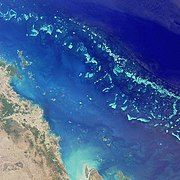 Satellite image of part of the Great Barrier Reef adjacent to the Queensland coastal areas of Proserpine and Mackay