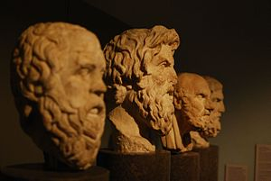 Philosophy of happiness - The carved busts of Socrates, Antisthenes, Chrysippus, and Epicurus.