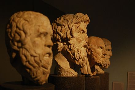 The carved busts of Socrates, Antisthenes, Chrysippus, and Epicurus. Greek philosopher busts.jpg