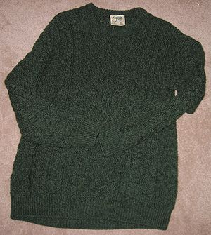 Aran jumper - A green Aran jumper, made in Ireland