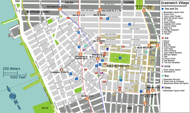 Chelsea Subway Map.Manhattan Greenwich Village Travel Guide At Wikivoyage