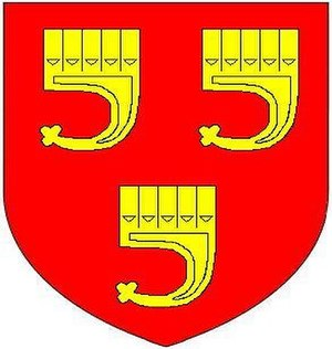 Bideford - Arms of Grenville, as visible sculpted on the monument to Sir Thomas Grenville (died 1513) in St Mary's Church, Bideford: Gules, three clarions or. These are the canting arms of the de Clare family, Earls of Gloucester, heirs of FitzHamon and overlords of the Grenvilles