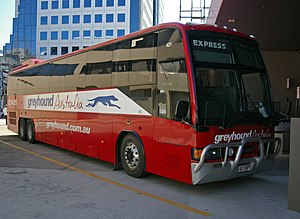 Public transport in Canberra - Greyhound Australia MotorCoach at Jolimont Terminal in August 2009