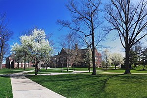 Grove City College campus during the springtime.