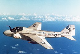Grumman A-6E Intruder of VA-52 in flight, in 1981 (6379373).jpg