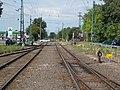 Gyártelep HÉV station, railway points, level crossing, 2019 Szigetszentmiklós.jpg