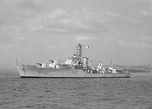 Pakistan Navy - PNS Badr, a destroyer visiting Britain, 1957.