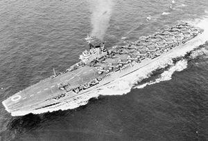 HMS Ocean (R68) - Image: HMS Ocean (R68) off Korea c 1952