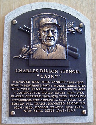 Casey Stengel - Casey Stengel's plaque at the Baseball Hall of Fame