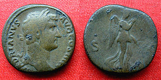 Nemesis (mythology) - Nemesis on a brass sestertius of Hadrian, struck at Rome AD 136