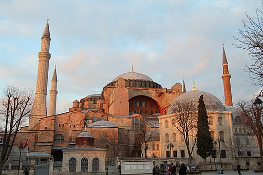 The front of the Hagia Sophia, with a view of its domes and spires.