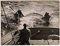 Halibut fishing, dories under tow, ca 1920 (MOHAI 6316).jpg