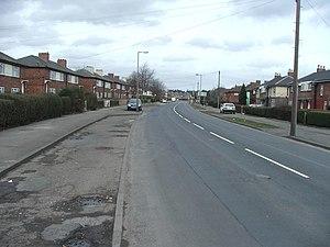 Halton Moor - Halton Moor Avenue with housing typical of the estate.