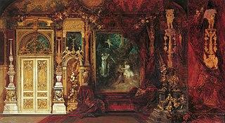 Dekorationsentwurf für das Schlafzimmer Kaiserin Elisabeths in der Hermesvilla (Mittelszene: Ein Sommernachtstraum)