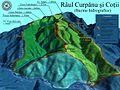 Harta 3D pentru Bazinul Raului Curpanu si Cotii, afluenti ai Oltului.jpg