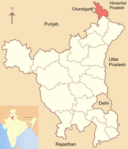 Location of Panchkula district in Haryana