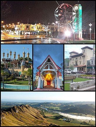 Hastings, New Zealand - From top clockwise: Hastings CBD at night, Hawke's Bay Opera House, Tukituki Valley from Te Mata Peak, Sky Castle at Splash Planet, Saint Matthews Church.'
