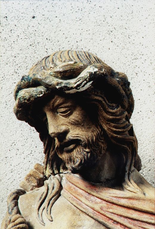 "Head of Jesus. Part of the Calvary in St.Gengoult Church in Briey. Photograph shown courtesy ""groenling"" Head of Jesus by Ligier Richier.jpg"