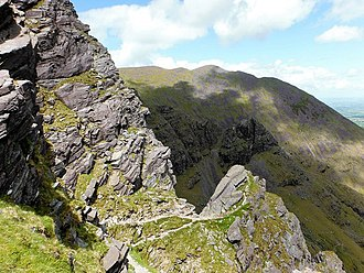 Carrauntoohil - Heavenly Gates on the east face.  The 450 metre Howling Ridge rock-climb, starts at the Heavenly Gates.