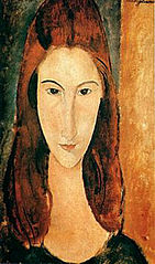 Frontal portrait of Jeanne Hébuterne