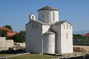 Nin, Croatia - The Church of the Holy Cross in Nin originates from the 9th century.
