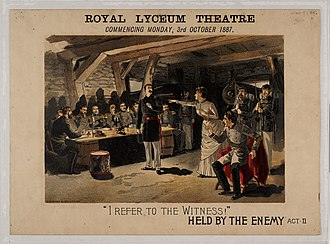 Royal Lyceum Theatre - Poster for a performance of William Gillette's Held by the enemy at the theatre in 1887
