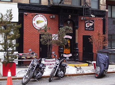 The Hells Angels clubhouse at 77 East 3rd Street between First and Second Avenues in the East Village neighborhood of Manhattan, New York City Hells Angels clubhouse East Village.jpg
