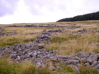 Rhondda - The ruins of the Hen Dre'r Mynydd settlement at the head of the Rhondda