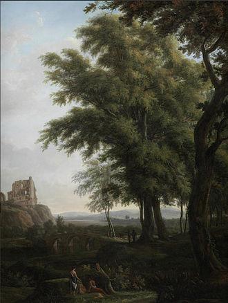 Hendrik Frans de Cort - Figures in a classical landscape, with Chepstow Castle on the horizon