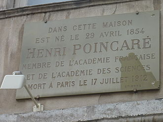 Henri Poincaré - Plaque on the birthplace of Henri Poincaré at house number 117 on the Grande Rue in the city of Nancy.