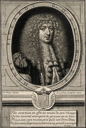 Quatrain - Portrait of Henric Piccardt. Engraving by Pierre Landry from 1672 after a lost painting by  Nicolaes Maes. Under the portrait, a quatrain by Guy Patin.