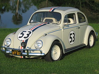 Herbie anthropomorphic Volkswagen Beetle, a character that is featured in several Disney motion pictures