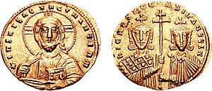 Νόμισμα του αυτοκράτορα Βασιλείου Β', ιδρυτή της Βαράγγιας Φρουράς.