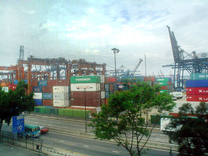 Port of Hong Kong - Kwai Tsing Container Terminals from the adjacent MTR line