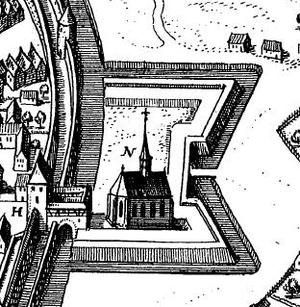Hornwork - The Weber Church of Zittau inside a hornwork (Europaeum Theatrum, Volume 5, Plate 12. Published in 1651 in Frankfurt am Main).