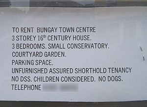 No DSS. Advertisement for a house in Bungay, S...