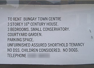 Housing Benefit - No DSS. Advertisement for a house in Bungay, Suffolk. Some private landlords will not rent property to claimants.