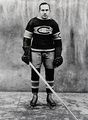 Howie Morenz - Morenz posing for a photo after the Canadiens won the 1930 Stanley Cup