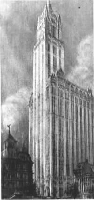 Hugh Ferriss - Woolworth Building, NYC