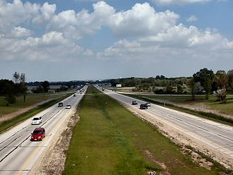 Wisconsin Highway 16 - The freeway section of Highway 16, looking East from the Ryan Street overpass in Pewaukee, Wisconsin
