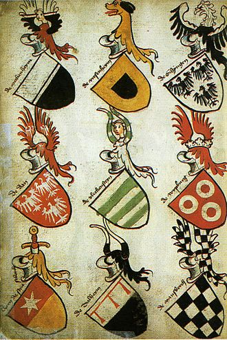 Coat of arms - The German Hyghalmen Roll, c. late 15th century, illustrates the German practice of thematic repetition from the arms in the crest