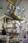 ICESat-2 spacecraft lifted to work stand at Astrotech (VAFB-20180614-PH AMT01 0035).jpg