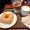Iced Date Macchiato, Latte and a square ring doughnut (33489806951).jpg