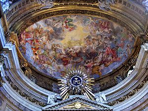 "Main altar; on the ceiling of the apse : ""..."