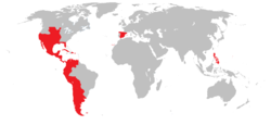 Territories that were ever part of the Spanish Empire during the Enlightement.