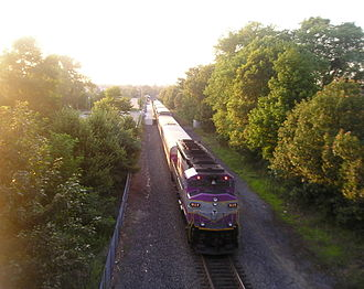 Old Colony Lines - A train leaves Campello station on the Middleborough/Lakeville Line