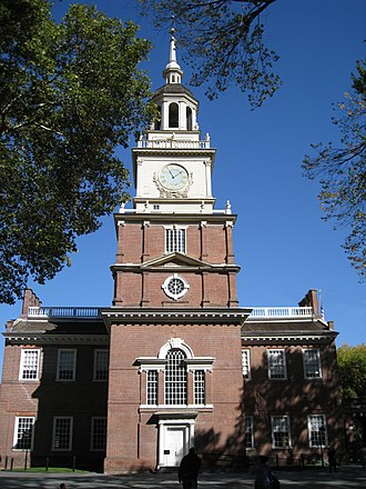 Timeline of drafting and ratification of the United States Constitution - South facade of Independence Hall (formerly the Pennsylvania Statehouse), Philadelphia, where the Constitution was forged