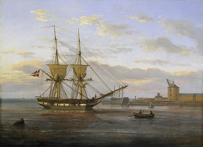 Indsejlingen til København )J. C. Dahl)